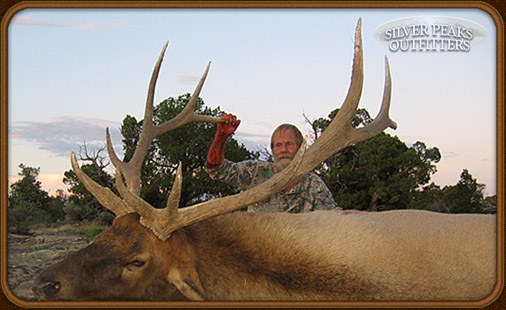 This big Bull Elk was taken by Bob Kaplan, while bowhunting with Silver Peaks Outfitters in Southwest Colorado