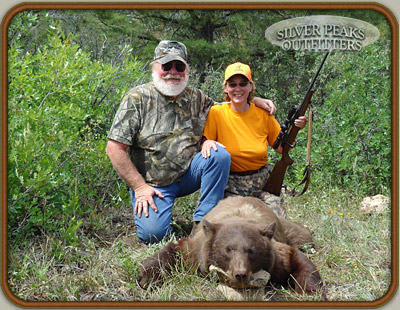 This Colorado Black Bear is the first animal of any kind that Cathy ever took a shot at! Even new hunters can be successful with Silver Peaks Outfitters of Southwest Colorado.